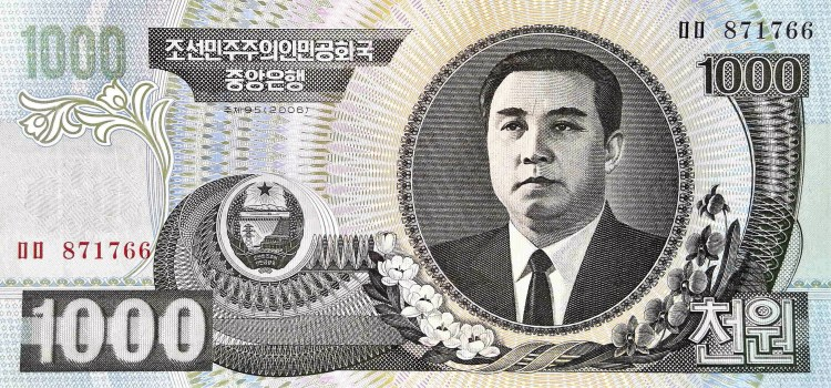 North Korea 1000 Won Banknote, year 2002 front, featuring portrait