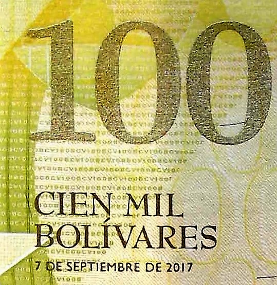 closeup detail of Venezuela 100 thousand Bolivares Banknote, Year 2017 , back