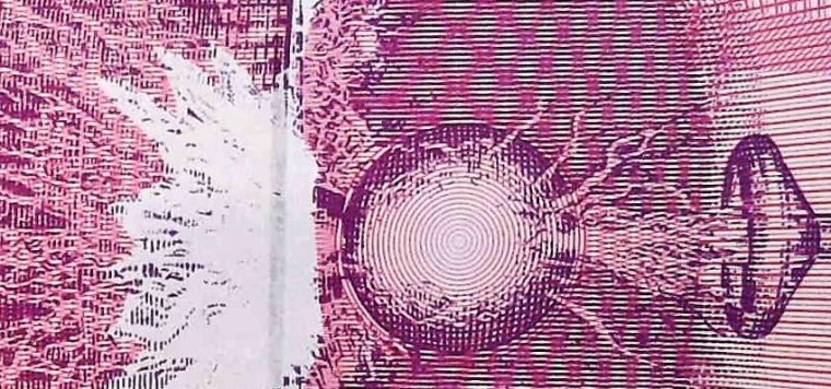 closeup detail from Yugoslavia 1992 10,000,000 back, featuring Tesla coil