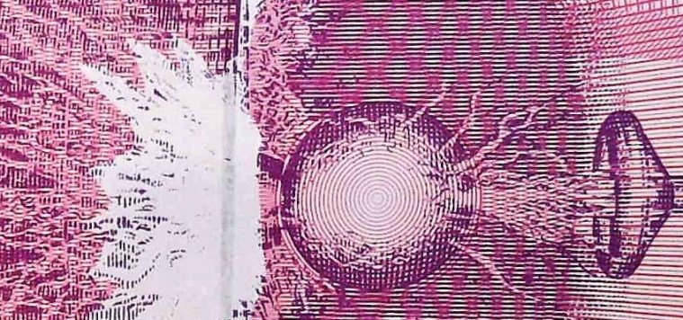 closeup detail from Yugoslavia 1992 10,000,000 back, featuring Tesla coil