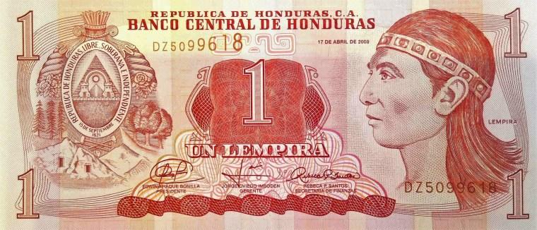 Honduras 1 Lempira Banknote front, featuring portrait of Lempira