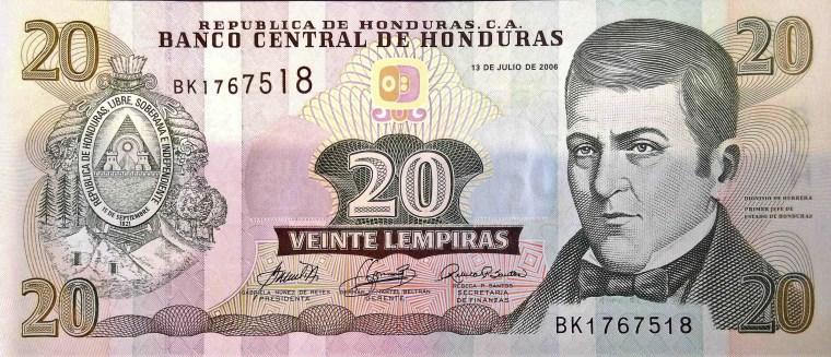 Honduras 20 Lempiras Banknote front