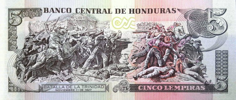 Honduras 5 Lempiras Banknote back, featuring Battle of Trinity Valley