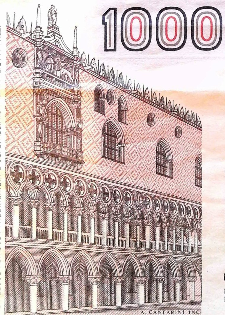closeup detail from Italy 1000 Lira Banknote back, featuring the Doge's Palace
