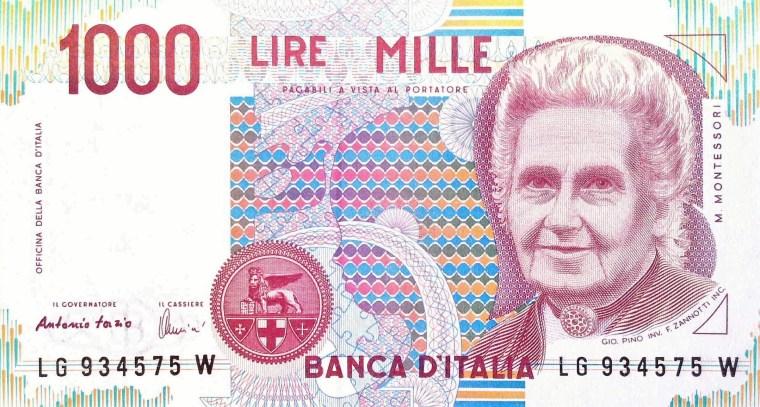 Italy 1000 Lira 1990 banknote front , featuring Maria Montessori