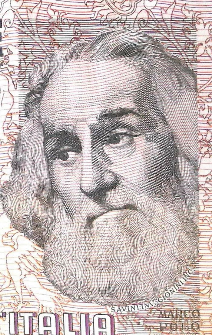 closeup detail from Italy 1000 Lira Banknote, featuring portrait of Marco Polo