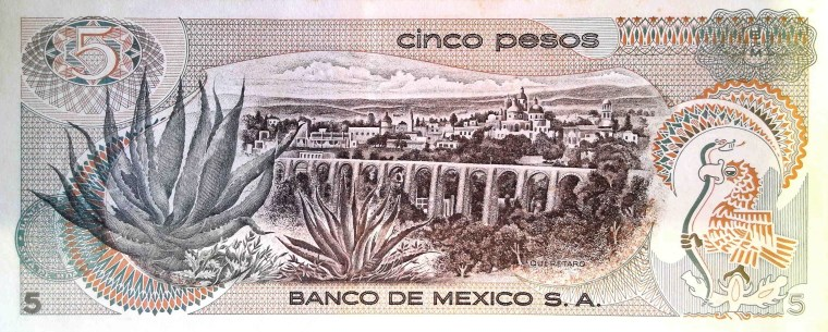 Mexico 5 Pesos Banknote, year 1969, back, featuring city and agave plants