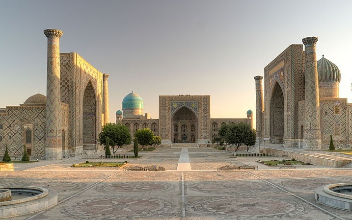 Three Madrassahs form Registan Square. The Sher Dor is on the right.
