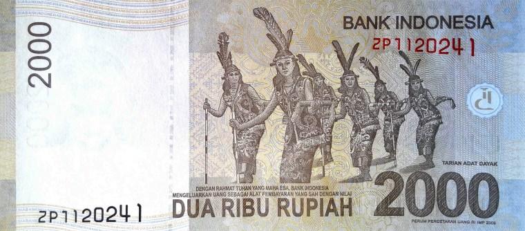 Indonesia 2000 Rupiah Banknote, Year 2015 -  back, featuring women dancing