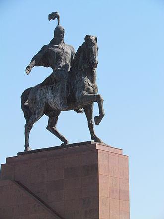 statue of Manas in kyrgyzstan