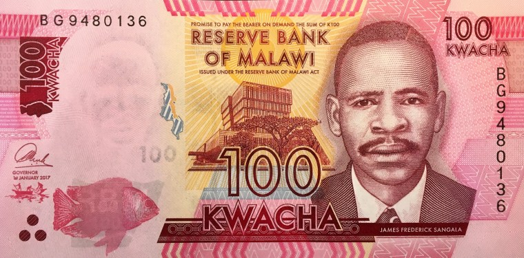 Malawi 100 kwacha banknote 2014 front, featuring portrait of James Frederick Sangala
