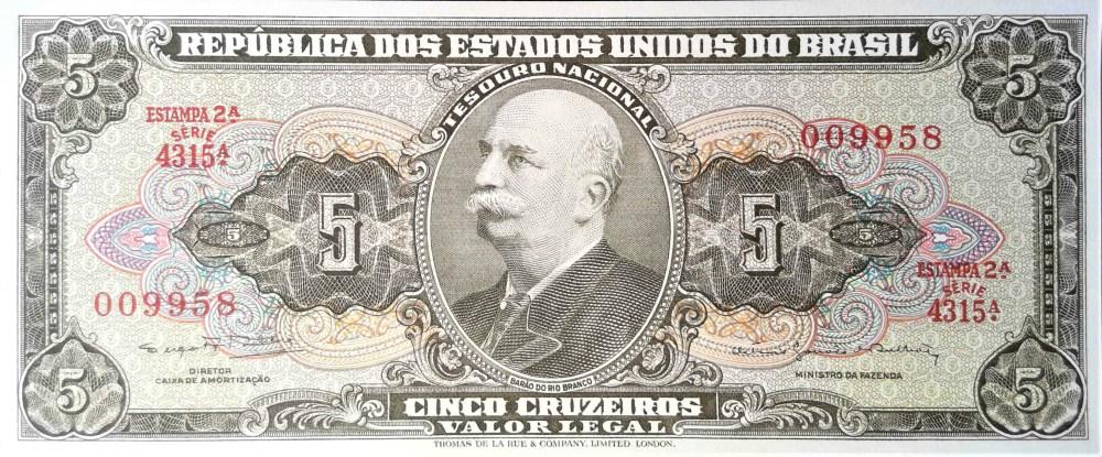 Brazil 5 Cruzeiros Banknote front