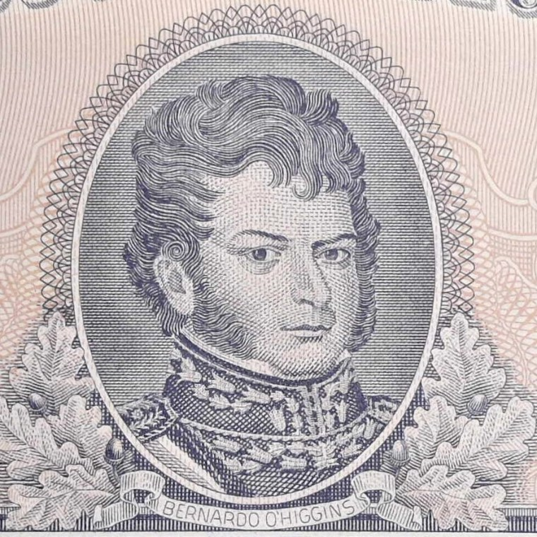 closeup of portrait on Chile 1/2 Escudo Banknote, Year 1963 front