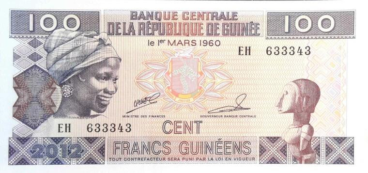Guinea 100 Francs Banknote front