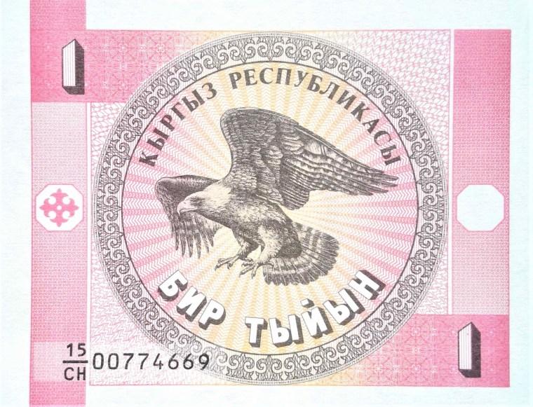 Kyrgyzstan 1 Tyiyn Banknote, Year 1993 back