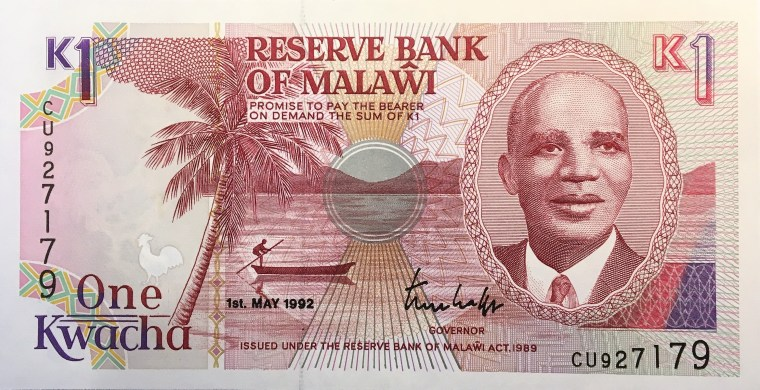 Malawi 1 kwacha banknote (1993) obverse, featuring portrait of President-for-Life Hastings Banda