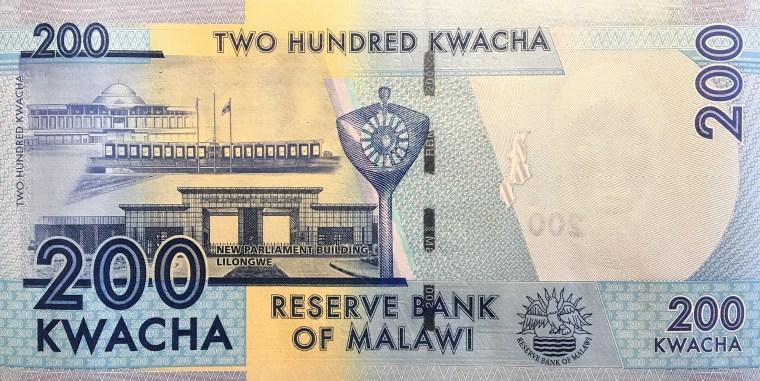 Malawi 200 kwacha banknote back