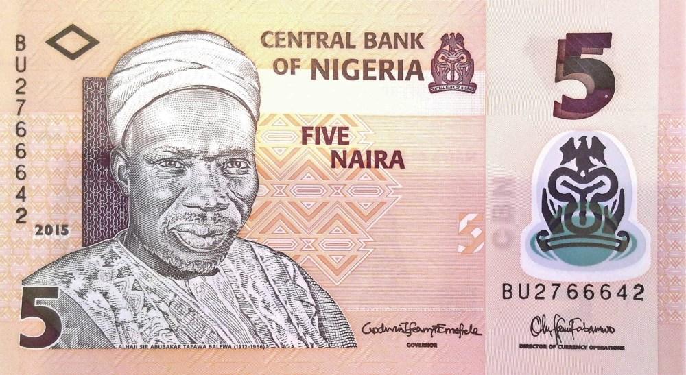 Nigeria 5 Naira Banknote, year 2015 front