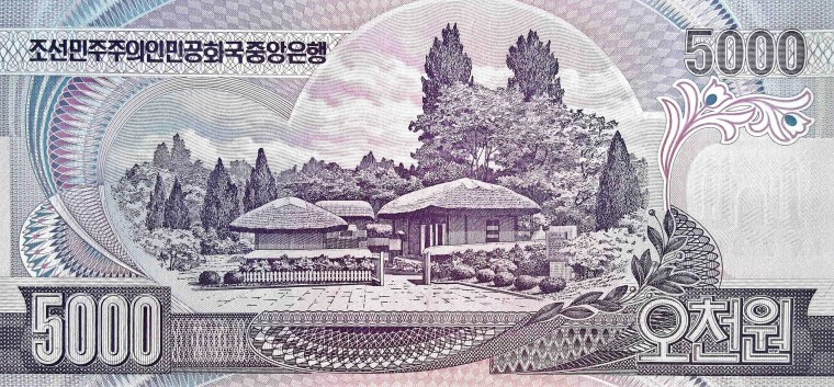 North Korea 5000 won banknote, year 2002 back