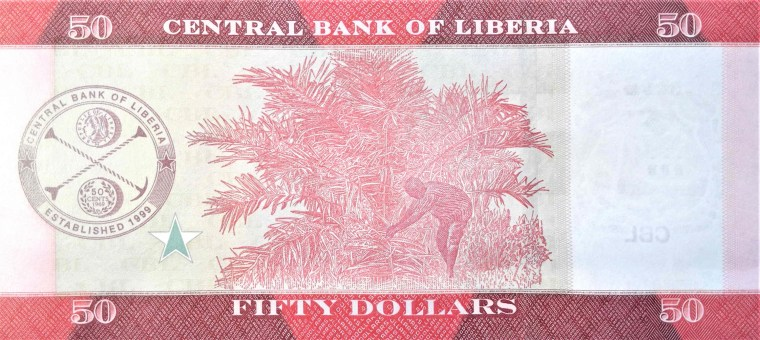 Liberia 50 dollar banknote year 2016  back