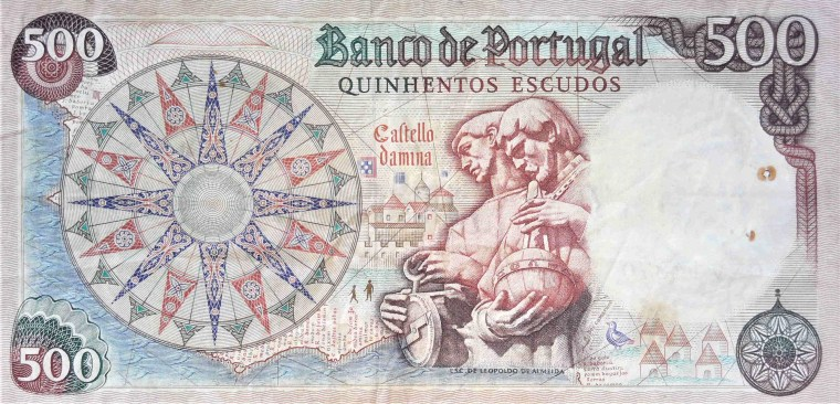 Portugal 500 Escudos Banknote, year  1966 back