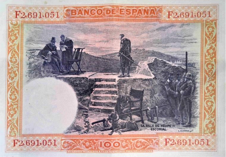 Spain 100 pesetas banknote, year 1925