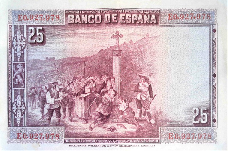 Spain 25 pesetas banknote, year 1928 back