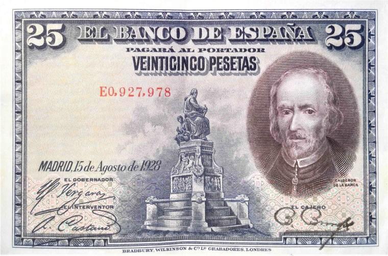 Spain 25 pesetas banknote, year 1928 front