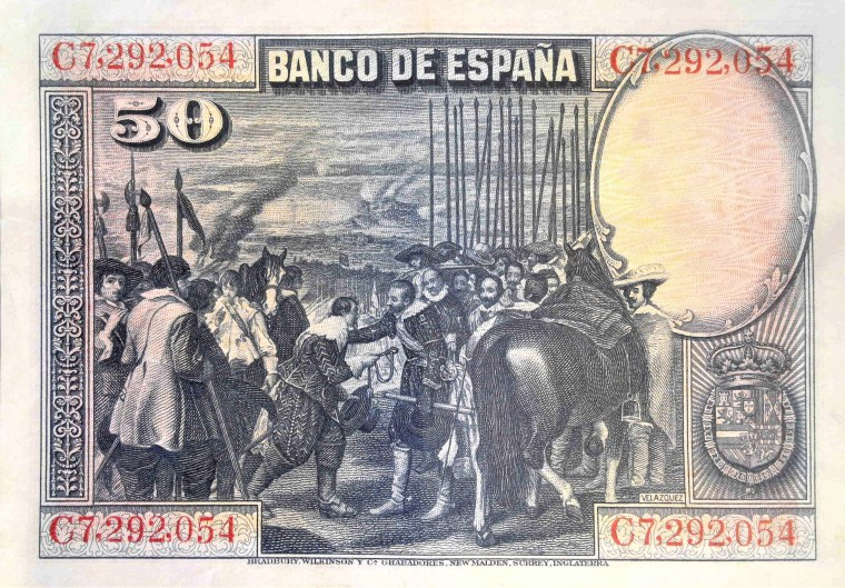 "Spain 50 pesetas banknote, year 1928 back, featuring painting ""Surrender of Breda"" by Diego Velazquez"