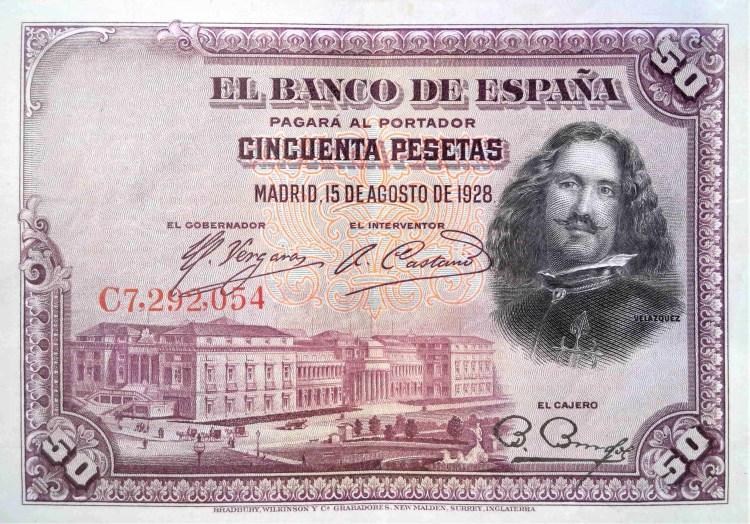 Spain 50 pesetas banknote, year 1928 front, featuring portrait of Diego Rodríguez de Silva y Velázquez