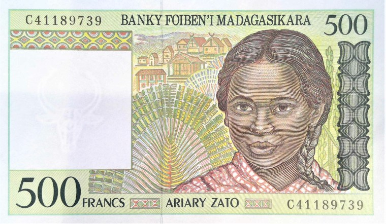 madigascar 500 francs banknote front, featuring girl