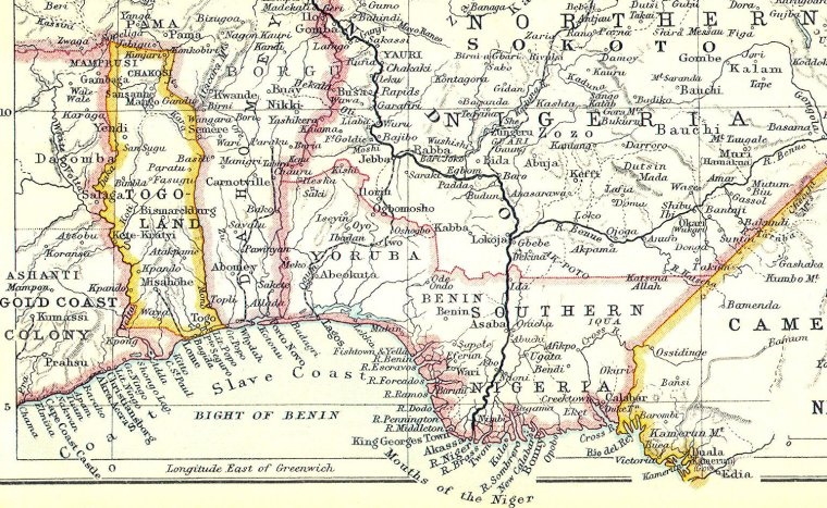 map of togo and the slave coast