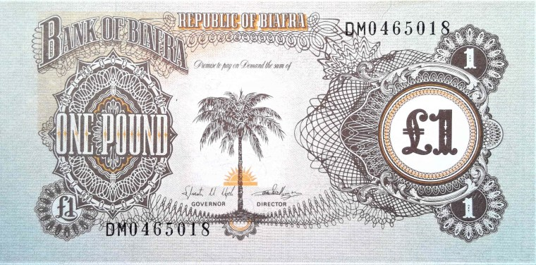 Biafra 1 pound banknote front, featuring palm tree