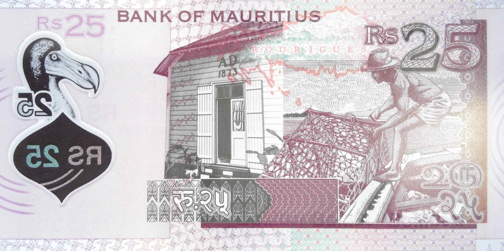 Mauritius 25 Rupee 2013 banknote back