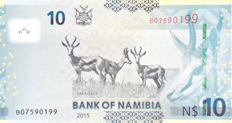 Namibia $10 banknote back, featuring springbok