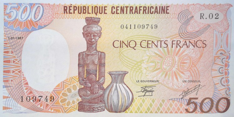 Republic of central africa 500 Francs banknote front featuring wood carvings statue and vase