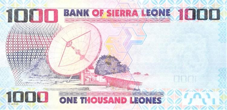 Sierra Leone 1000 leones banknote year 2013 back featuring satellite dish