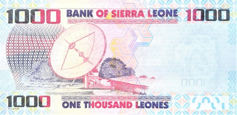 Sierra Leone 1000 leones banknote year 2013 back featuring satellite dish