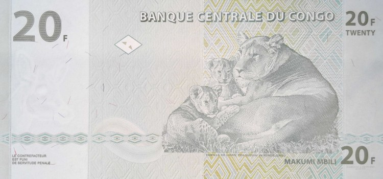 Democratic republic of the Congo 20 francs banknote 2003 front featuring lioness with 2 cubs