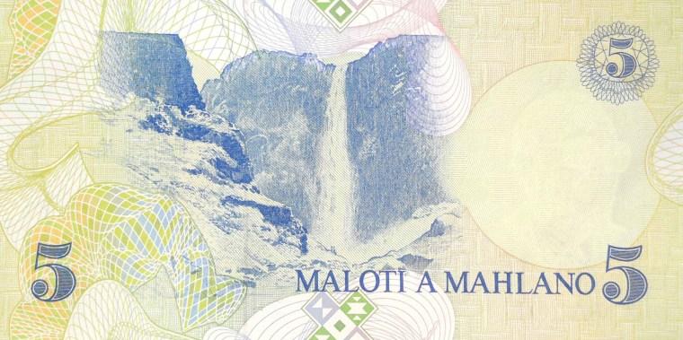 lesotho 5 maloti banknote year 1989 back featuring  Maletsunyane Falls of Lesotho