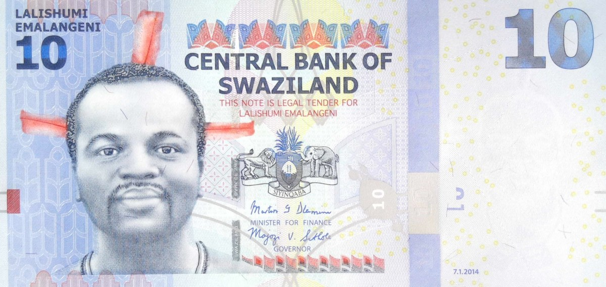 swaziland 10 lilangeni banknote, year 2014 front