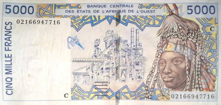 Burkina Faso 5000 francs 2002 banknote front