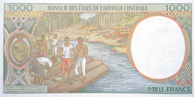 Chad 1000 Francs Banknote year 2000 back
