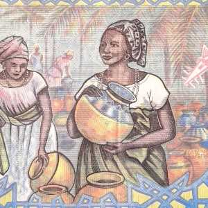 urkina Faso 5000 Francs 2002 banknote back (2) featuring women at market scene