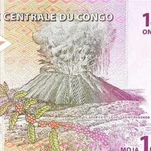 Democratic Republic of the Congo 1 Franc 1997 1 centime banknote back (2), featuring Nyiragongo volcano and arabic coffee