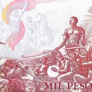 "Guinea-Bissau 1000 Peso 1993 banknote back (3), featuring allegory ""Apoteose ao Triunfo"", which translates from the Portuguese as, the ""Glorification of Triumph"""