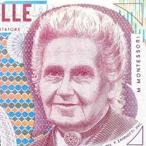 Italy 1000 Lira 1990 banknote front (2), featuring portrait of Maria Montessori
