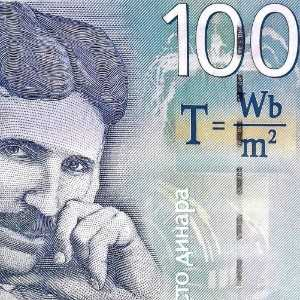 Serbia 100 Dinar 2013 banknote front (2), featuring portrait of Nikola Tesla and Tesla equation