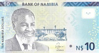 Namibia $10 banknote front, featuring portrait of Dr. Sam Nujoma