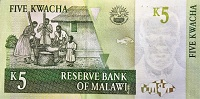 Malawi 5 Kwacha 2005 banknote back (2) Featuring mother and children preparing food - Food Security